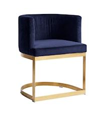 Lounge matbordsstol i sammet - Blå