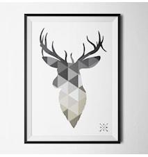 Nordic deer grey poster
