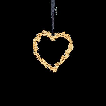 Blomsterhjärta, 6 cm, förgyllt