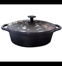 Emaljerad gjutjärnsgryta 4,3 liter Oval 29 cm Mörkgrå