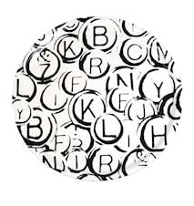 Rund bricka - svartvita bokstäver 38cm