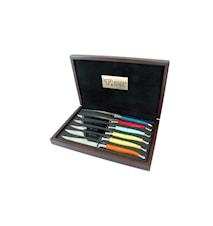 Stekknivar mixade färger, Corian/rostfri, 6 st i set