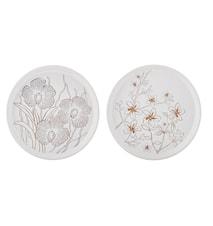 Ljusfat Keramik Vit/Guld 16 cm