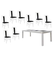 Jasmine möbelgrupp - Vit, 240 matbord & 8 stolar, tyg
