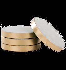 Underlägg Vit marmor med guldkant 4-pack Ø 8,5 cm