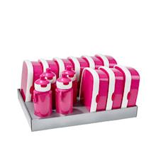 Matlådsset inkl. vattenflaskor Rosa 13-delar