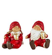 Juldekoration med ask Polyresin 2-pack Röd 9x7,5 cm