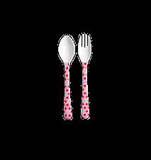 Sked och gaffel Melamin Rosa/Röd