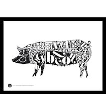 Pig black poster