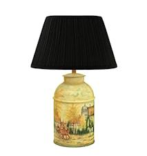 Lampa, 36 cm, plåt, handmålad, engelskt bymotiv