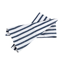 Hampton handduk vit/blå breda