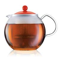 Assam Tekanna 1,5 liter Röd m Glashandtag