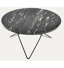 Big O table matbord - Black Marquina/black steel
