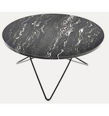 Big O table matbord - Black Marquina/black steel