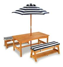 Outdoor table & benche trädgårdsgrupp inkl. parasoll och dynor