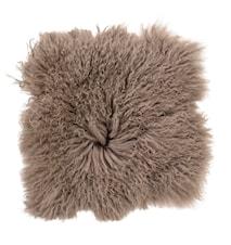 Stolsdyna Ljusbrun mongoliskt lammskinn 40x40 cm