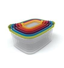 Nest 6 förvaringsbox-set klar/färgad - 26 cm