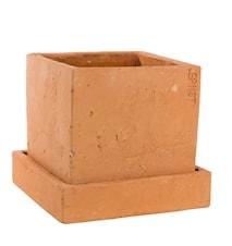 Kruka fyrk.17x17cm m fat,terracotta