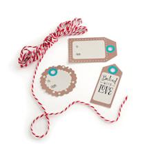 Presenttaggar med snöre Papper 12-pack
