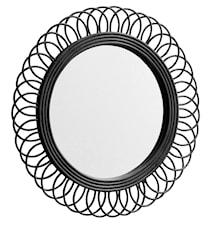 Rund spejl i rotting Ø 54 cm - Sort