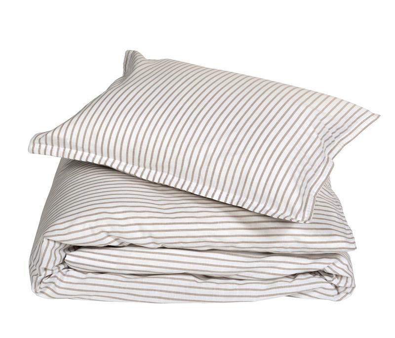 Classic stripe påslakan – Beige