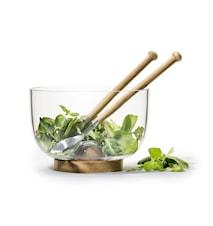 Oak skål och salladsbestick