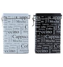Kaffeboks Metall Hvit/Svart 20 cm