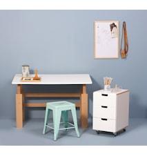 Sett med høy- & senkbart skrivebord + skuffeseksjon