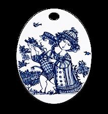 Oval platta, Rose Garden, blå, 15x19 cm