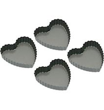 Non-stick Miniformar Hjärtformade 10 cm, 4 st