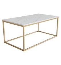 Accent sofabord rektangulært, 110x60, lys marmor/matt messing