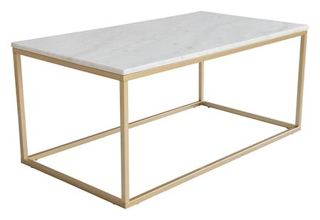Accent soffbord rektangulärt, 110x60, ljus marmor/matt mässing