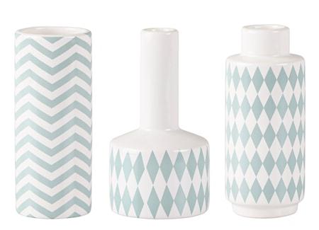 Bild av KJ Collection Vas med mönster Grön 15 cm