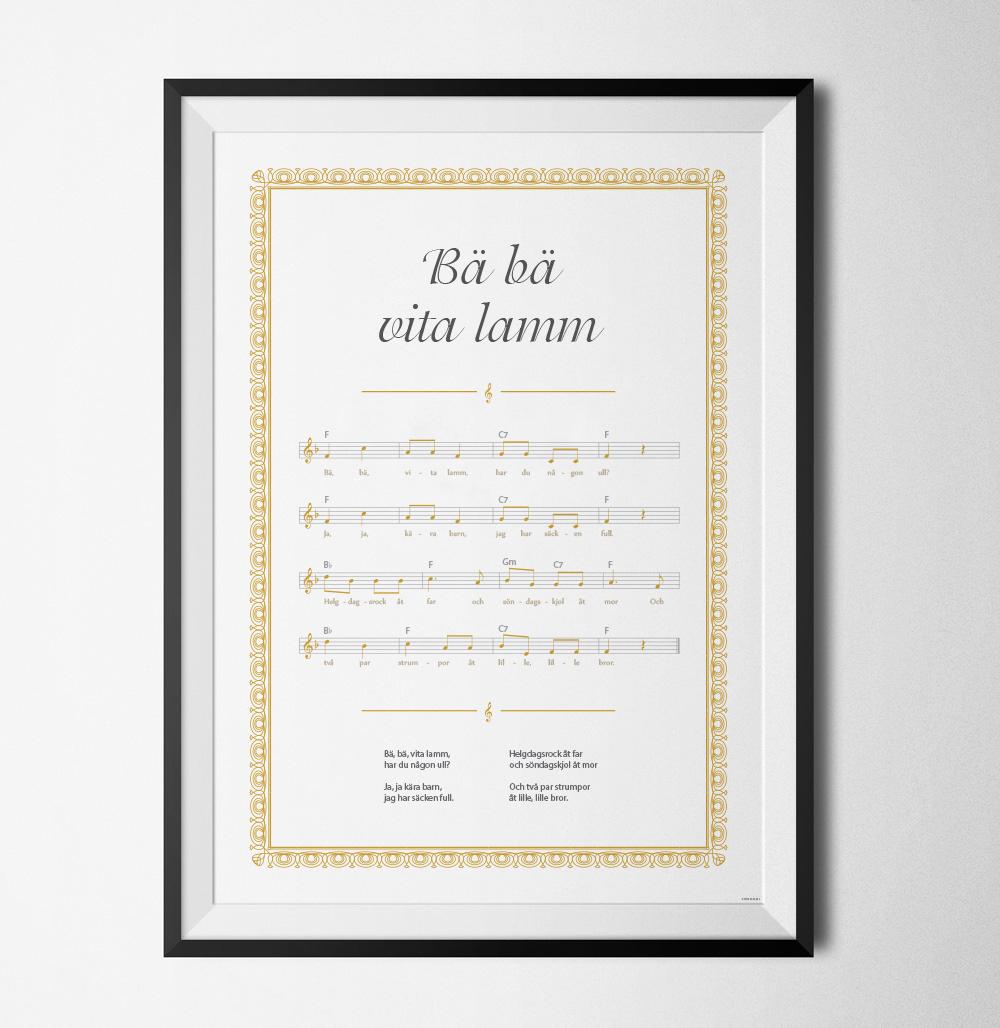 Bä Bä vita lamm poster