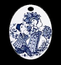Oval platta, Roses, blå, 15x19 cm