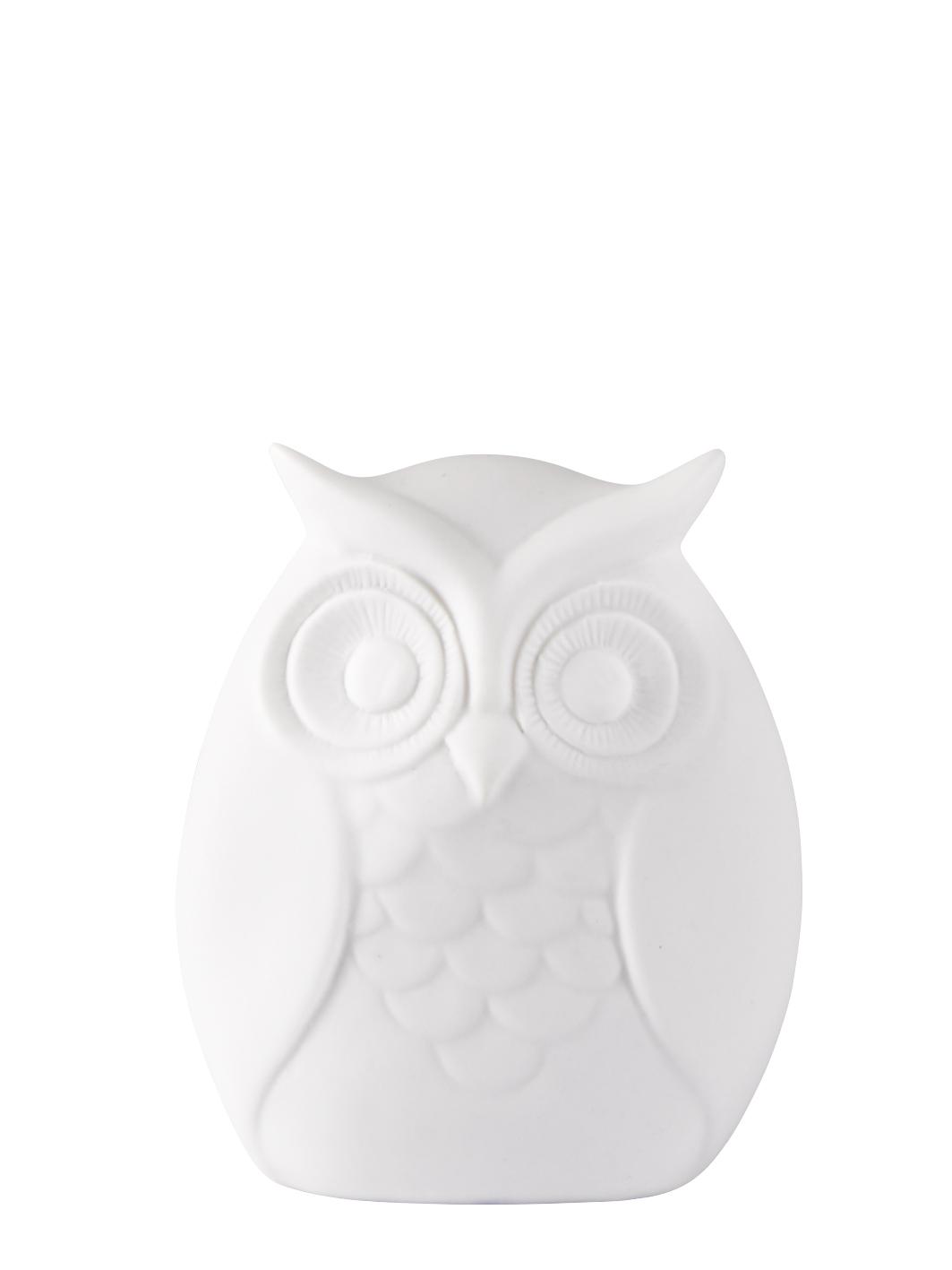 Figur Keramik Uggla Vit 10 cm