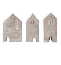 Figur Hus Cement Grå 12 cm