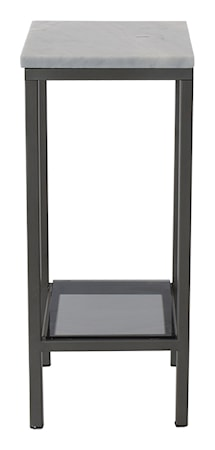 Ascot piedestal lågt sidobord – Ljus marmor, grå lack