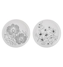 Ljusfat Keramik Vit/Blommig 16 cm