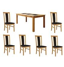 Jasmine Spisegruppe Eik inkl. 6 stoler - Eik, trekk kunstig skinn