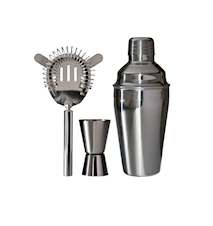 Baarisetti 3 osaa shaker 0,5l alkoholimitta 1-4 cl siivilä ruostumatonta terästä