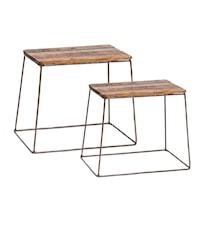 Square wood pallar - Set om 2
