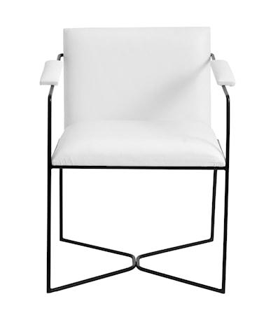 Matsalsstol Läder/Järn Vit/Svart