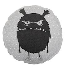 Golvkudde Rund Monster Grå 70 cm