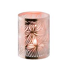 Lykta koppar med glasrör mönster höjd 7,5 cm