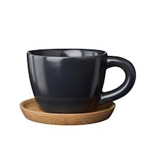 Höganäs Keramik espressokopp 10 cl med träfat grafitgrå matt