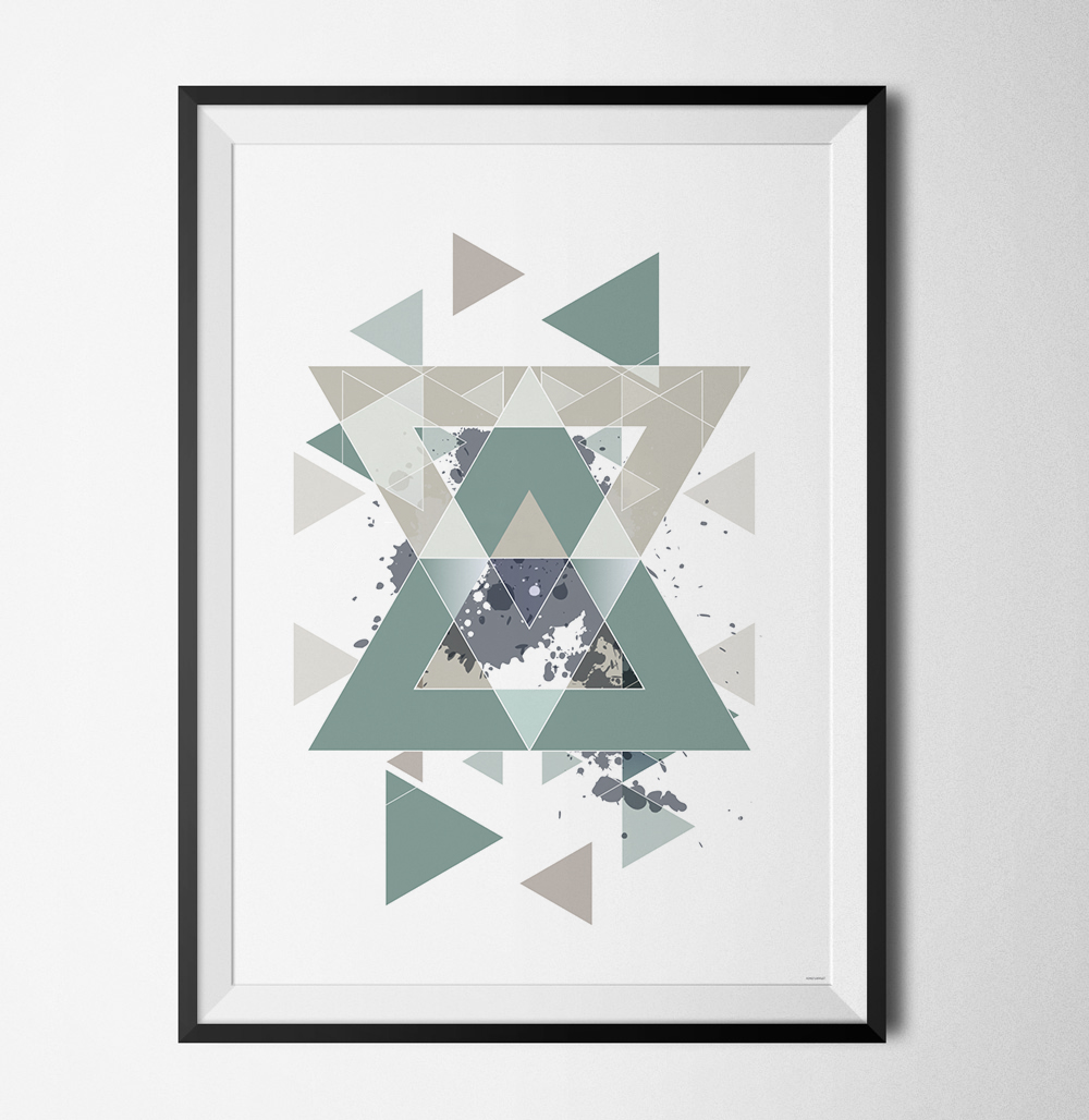 Blue geometry 2 poster