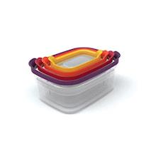 Nest 4 förvaringsbox-set klar/färgad - 21 cm