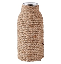Vase - m. snor - Glas - Jute - Sand - Klar - D 8,0cm - H 20,0cm - Stk.