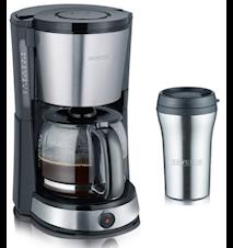 Kaffebryggare Rostfritt stål med Glaskanna och Termomugg
